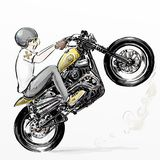 Cute cartoon boy riding motorcycle Royalty Free Stock Images