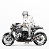 Cute cartoon boy riding motorcycle Royalty Free Stock Image