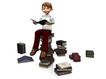 Cute cartoon boy sitting on a pile of books. Royalty Free Stock Photos