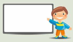 Cute Cartoon Boy Standing Near the Blackboard Royalty Free Stock Image