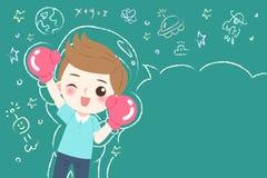 Cute cartoon boy student. Wear glove wtih blackboard Royalty Free Stock Images