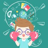 Cute cartoon boy student. Wear glove and glasses wtih blackboard Stock Photo