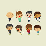 Cute Cartoon Boys And Girls Set2. Vector Clip Art Illustration
