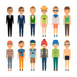 Cute Cartoon Boys in Assorted Clothing Styles Royalty Free Stock Photos