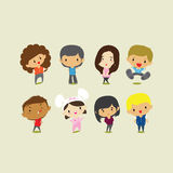 Cute cartoon boys and girls. Vector clip art illustration Stock Photos