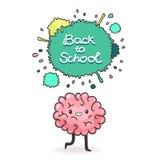 Cute cartoon brain. Back to school background Stock Photography