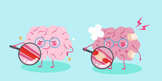 Cute cartoon brain. With healthy concept on blue background Royalty Free Stock Photo