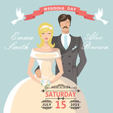 Cute cartoon bride groom. Retro Wedding invitation Royalty Free Stock Images