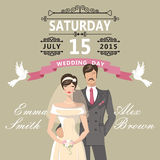 Cute cartoon bride and groom.Retro wedding invitation Stock Photo