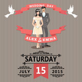 Cute cartoon bride and groom.Retro wedding invitation Stock Images