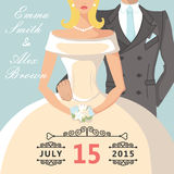 Cute cartoon bride and groom.Retro Wedding invitation Royalty Free Stock Photos
