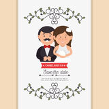 Cute cartoon bride groom weddign card design graphic Stock Images