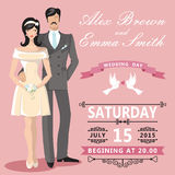 Cute cartoon bride and groom. Wedding invitation Stock Images