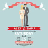 Cute cartoon bride groom.Wedding invitation Royalty Free Stock Image