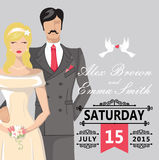 Cute cartoon bride and groom.Wedding invitation Stock Photos