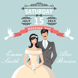 Cute cartoon bride groom.Wedding invitation Royalty Free Stock Photography