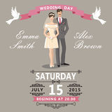 Cute  cartoon bride and groom.Wedding invitation Royalty Free Stock Photos