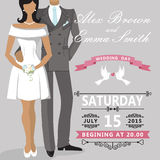 Cute cartoon bride and groom. Wedding invitation Royalty Free Stock Image