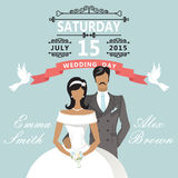 Cute cartoon bride and groom. Wedding invitation Stock Image