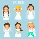 Cute cartoon brides. Princess in wedding dresses. Kawaii fiancee icons. Vector illustration for bridal design, scrapbook, stickers Royalty Free Stock Image