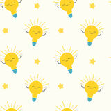 Cute cartoon bright yellow light bulbs seamless pattern concept background illustration Royalty Free Stock Photography