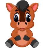 Cute cartoon brown horse Stock Photography
