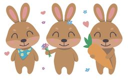 Cute cartoon brown smiling easter bunny vector collection set with flowers, hearts, carrot for children royalty free illustration