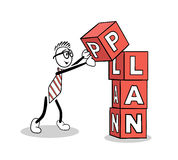 Cute cartoon building a plan Royalty Free Stock Images