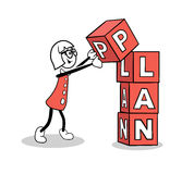 Cute cartoon building a plan Stock Photography