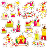 Cute cartoon buildings. Set of children's stickers. Stock Photos