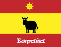Cute Cartoon Bull, Spanish Flag & Sun Stock Photos