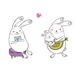 Cute cartoon bunnies. Hand drawing isolated objects on white background. Vector illustration stock illustration