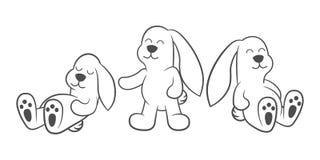 Cute cartoon bunnies sit, sleep and play - outline. Cute cartoon bunnies sit, sleep and play - only outline Stock Images
