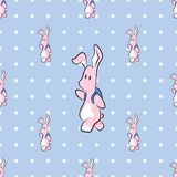 Cute cartoon bunny with backpack seamless pattern. Cute cartoon bunny animal with backpack. Hand drawn vector pattern vector illustration
