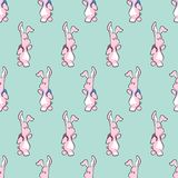 Cute cartoon bunny with backpack seamless pattern. Cute cartoon bunny animal with backpack. Hand drawn vector pattern stock illustration