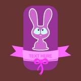 Cute cartoon bunny card Stock Images