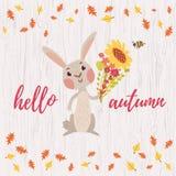 Cute cartoon bunny card Stock Photo