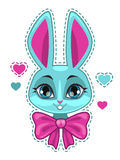 Cute cartoon bunny girl face. With big pink bow, fashion girlish vector illustration for t shirt print design vector illustration