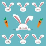 Cute cartoon bunny rabbit characters emoji set, vector illustration stock illustration