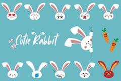 Cute cartoon bunny rabbit characters emoji set, vector illustration royalty free illustration