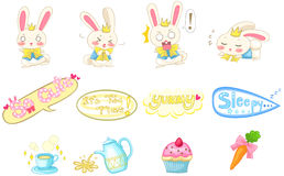Cute cartoon bunny rabbit in various action and expression  Stock Photo