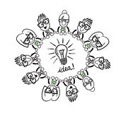 Cute cartoon business people connecting around a bulb Stock Photo