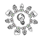 Cute cartoon business people connecting around a bulb Royalty Free Stock Photos