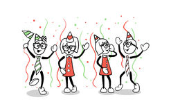 Cute cartoon business people partying Royalty Free Stock Photography