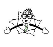Cute cartoon businessman with arms open Stock Image