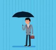 Cute Cartoon Businessman with Umbrella Standing Under the Rain. Vector flat-style illustration. Royalty Free Stock Photo