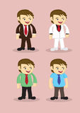 Cute Cartoon Businessman Vector Icon Set Stock Image