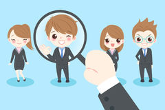 Cute cartoon businesspeople. With interview concept stock illustration