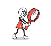 Cute cartoon businesswoman with magnifying glass Royalty Free Stock Photo