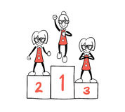 Cute cartoon businesswomen on a podium Royalty Free Stock Images